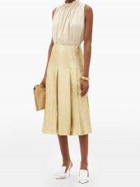 FENDI Wool-blend lamé midi skirt ~ gold knife pleat skirts