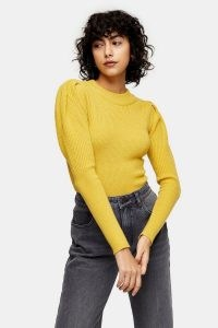 Topshop Yellow Balloon Sleeve Knitted Top
