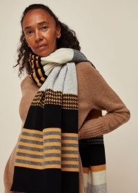 GREEN THOMAS BLANKET SCARF YELLOW MULTI / mixed patterned wool scarves / winter accessories