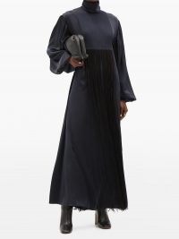 ROKSANDA Zina high-neck fringed silk-satin maxi dress ~ navy blue event wear ~ effortlessly elegant evening dresses