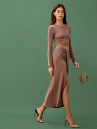 REFORMATION Zion Two Piece Taupe Shimmer / evening outfits / shimmering going out fashion