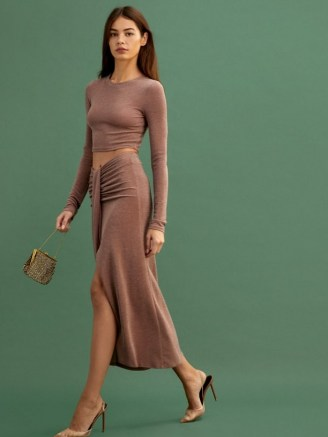 REFORMATION Zion Two Piece Taupe Shimmer / evening outfits / shimmering going out fashion - flipped