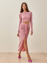REFORMATION Zion Two Piece in Pink Shimmer / evening fashion sets / shimmering co ords