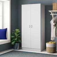 Audrina 2 Door Wardrobe by Zipcode Design – slim, streamlined design with grey metal handles for modern detail