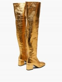 MARNI Zipped distressed-leather over-the-knee boots / gold high leg block heel boots