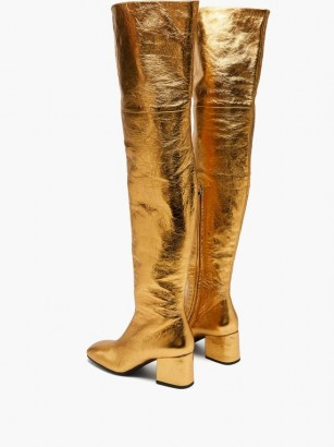MARNI Zipped distressed-leather over-the-knee boots / gold high leg block heel boots - flipped
