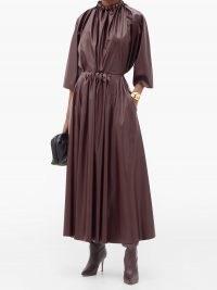 ROKSANDA Ada gathered-waist faux-leather midi skirt ~ longline gathered skirts ~ deep rich burgundy colours in fashion
