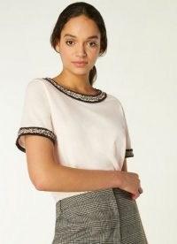 L.K. BENNETT ADALYN CREAM COTTON TWEED TRIM T-SHIRT ~ wardrobe essentials