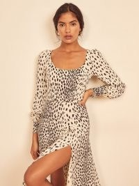 Reformation Alessi Dress in Cheetah | thigh high slit animal print dresses