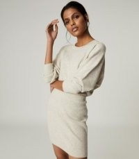 REISS ALEXA KNITTED SWEAT DRESS GREY / cosy loungewear dresses / comfort dressing / chic casual clothing