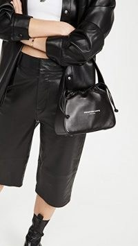 Alexander Wang Ryan Small Bag ~ black leather mini drawstring handbag