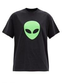 BALENCIAGA Alien-print cotton-jersey T-shirt / black slogan print tee / aliens face t-shirts
