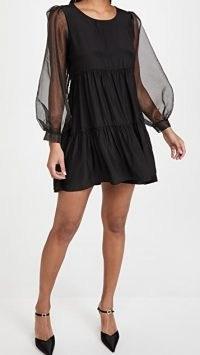 Amanda Uprichard Elaina Dress ~ lbd ~ sheer balloon sleeves ~ little black party dresses