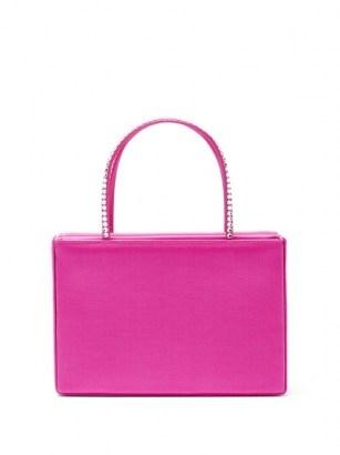 AMINA MUADDI Amini Gilda crystal satin box bag ~ small pink handbag ~ luxe bags - flipped