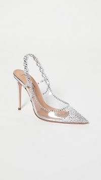 Aquazzura Heaven Pumps 105mm ~ transparent slingback courts ~ embellished court shoes ~ party heels