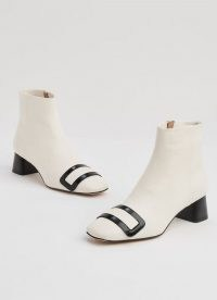 L.K. BENNETT ARIA WHITE & BLACK LEATHER ANKLE BOOTS | retro footwear