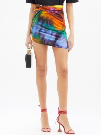 THE ATTICO Asymmetric tie-dye cotton mini skirt ~ colourful uneven hem skirts
