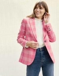 Boden Atkins British Tweed Blazer – Pink Check ~ bright blazers ~ checked jackets