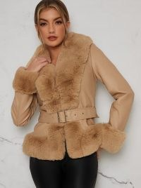 Chi Chi Alexis Coat – faux fur trim leather-look winter coats – brown fluffy trimmed jackets