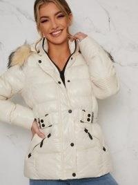 Chi Chi Twyla Coat – cream padded winter coats – fur trim hooded jacket