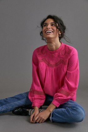 ANTHROPOLOGIE Harmony Lace Blouse / pink blouses - flipped