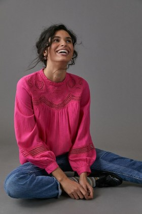 ANTHROPOLOGIE Harmony Lace Blouse / pink blouses