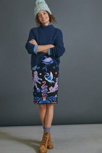 Super Nice Letters x Anthropologie Julie Sweater Skirt / knitted pencil skirts / animal and bird prints