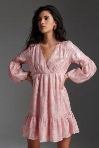 ANTHROPOLOGIE Masie Metallic Jacquard Mini Dress / pink shimmer detail dresses