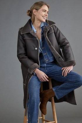 ANTHROPOLOGIE Kerry Reversible Faux Fur Coat Dark Grey - flipped