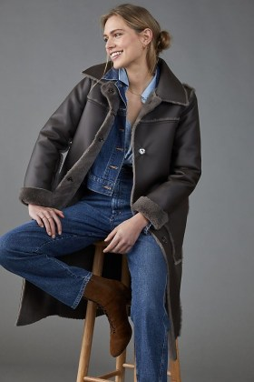 ANTHROPOLOGIE Kerry Reversible Faux Fur Coat Dark Grey
