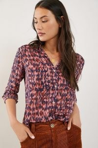 Pilcro Leilani Tunic Buttondown – pink patterned shirt