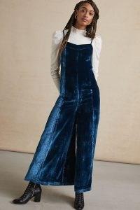 Maeve Andromeda Wide-Leg Velvet Jumpsuit ~ blue spaghetti strap jumpsuits