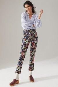 Maeve Gardenia Ultra High-Rise Slim Straight Jeans / floral denim