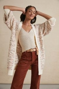 ANTHROPOLOGIE Jenna Marled Cardigan / neutral longline open front cardigans