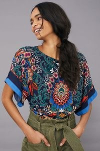 Anthropologie Vienna Kimono Blouse | wide sleeve floral top