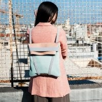 Maria Maleta Backpack Light Blue & Pink | leather colour block backpacks