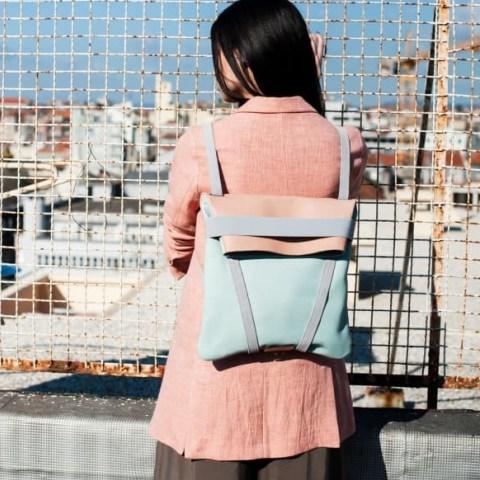 Maria Maleta Backpack Light Blue & Pink | leather colour block backpacks - flipped