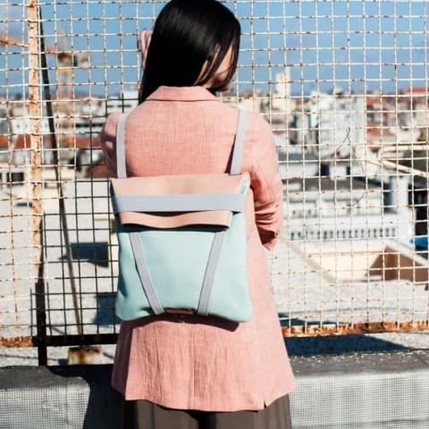 Maria Maleta Backpack Light Blue & Pink | leather colour block backpacks