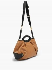 MARNI Balloon leather handbag ~ tan brown pleated bags ~ pleat detail shoulder bag