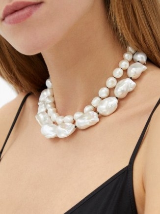 SOPHIE BUHAI Baroque-pearl sterling-silver necklace ~ chunky pearls ~ double strand statement necklaces