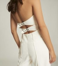 REISS BEA BUCKLE DETAIL JUMPSUIT WHITE ~ strapless evening jumpsuits ~ back fastening detail