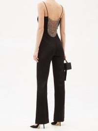 GALVAN Beaded-back crepe jumpsuit ~ glamorous evening jumpsuits ~ partywear ~ party clothing ~ occasion glamour