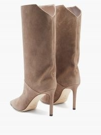 JIMMY CHOO Beren 85 suede boots ~ beige cut-out back stiletto boots