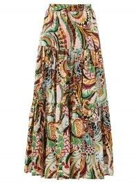 LA DOUBLEJ Big Skirt peacock-print cotton-poplin maxi skirt | abstract prints | tiered skirts