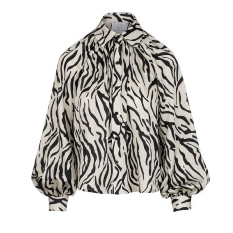 Undra Celeste New York Billow Sleeve Blouse Zebra | monochrome animal print blouses | balloon sleeves - flipped