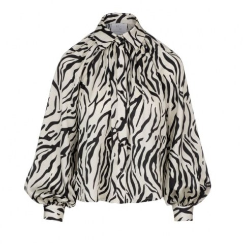 Undra Celeste New York Billow Sleeve Blouse Zebra | monochrome animal print blouses | balloon sleeves