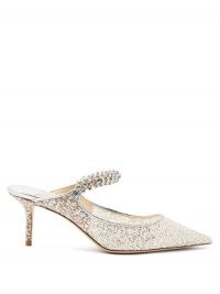 JIMMY CHOO Bing 65 crystal-strap glitter-mesh mules ~ silver glittering mule shoes