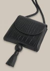 WHISTLES ARDEN CROC TASSEL BAG / small black leather crocodile effect bags / crossbody