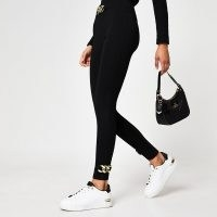 RIVER ISLAND Black chain detail leggings ~ sports luxe pants