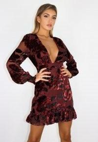 MISSGUIDED black devore v neck tea dress ~ deep plunge front party dresses
